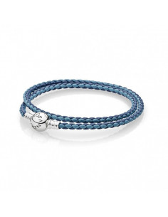 Pulsera Moments en cuero trenzado doble mix de azules para charms