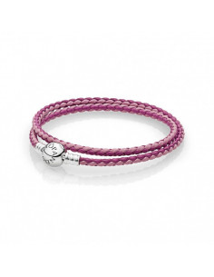 Pulsera Moments en cuero trenzado doble mix de rosas para charms