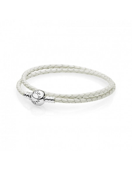 Pulsera Moments en cuero trenzado doble mix de blancos para charms