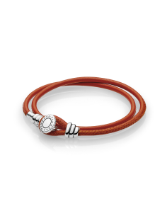 Pulsera Moments en cuero naranja doble para charms